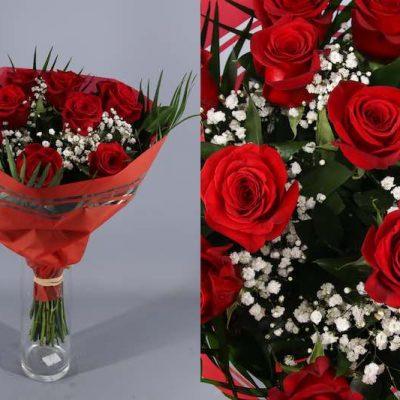 Ramo redondo de 12 rosas rojas